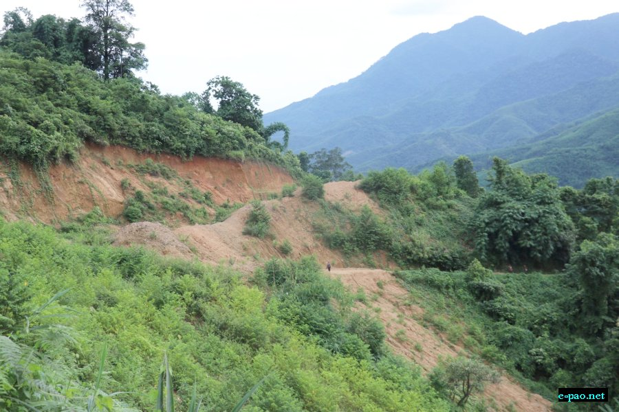 Land destroyed in Phalong,  ADB kangchup to tamenglong road in August 2019