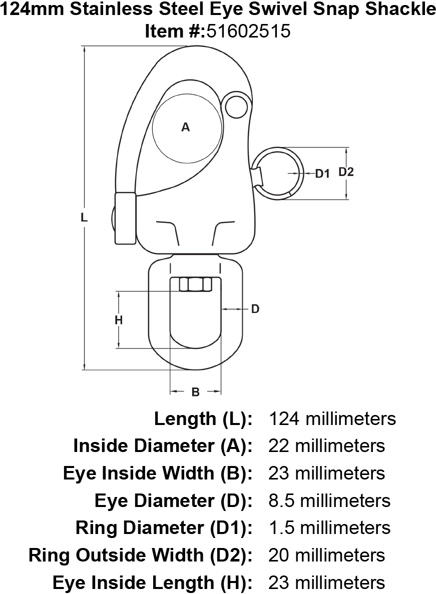 124mm Stainless Steel Eye Swivel Snap Shackle