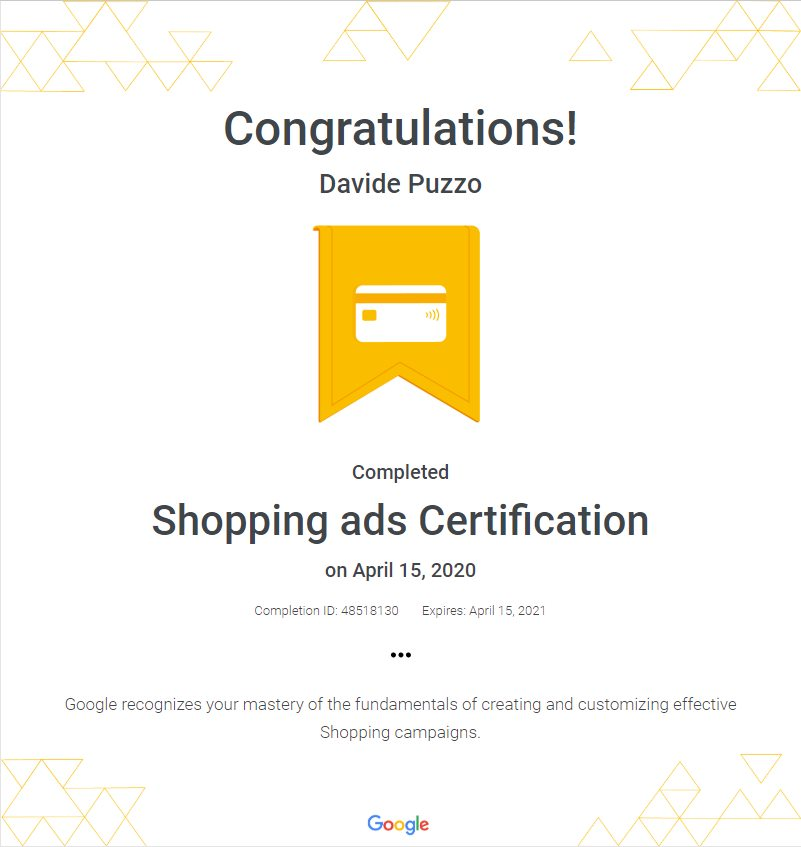 Google Ads Shopping Certification - Davide Puzzo