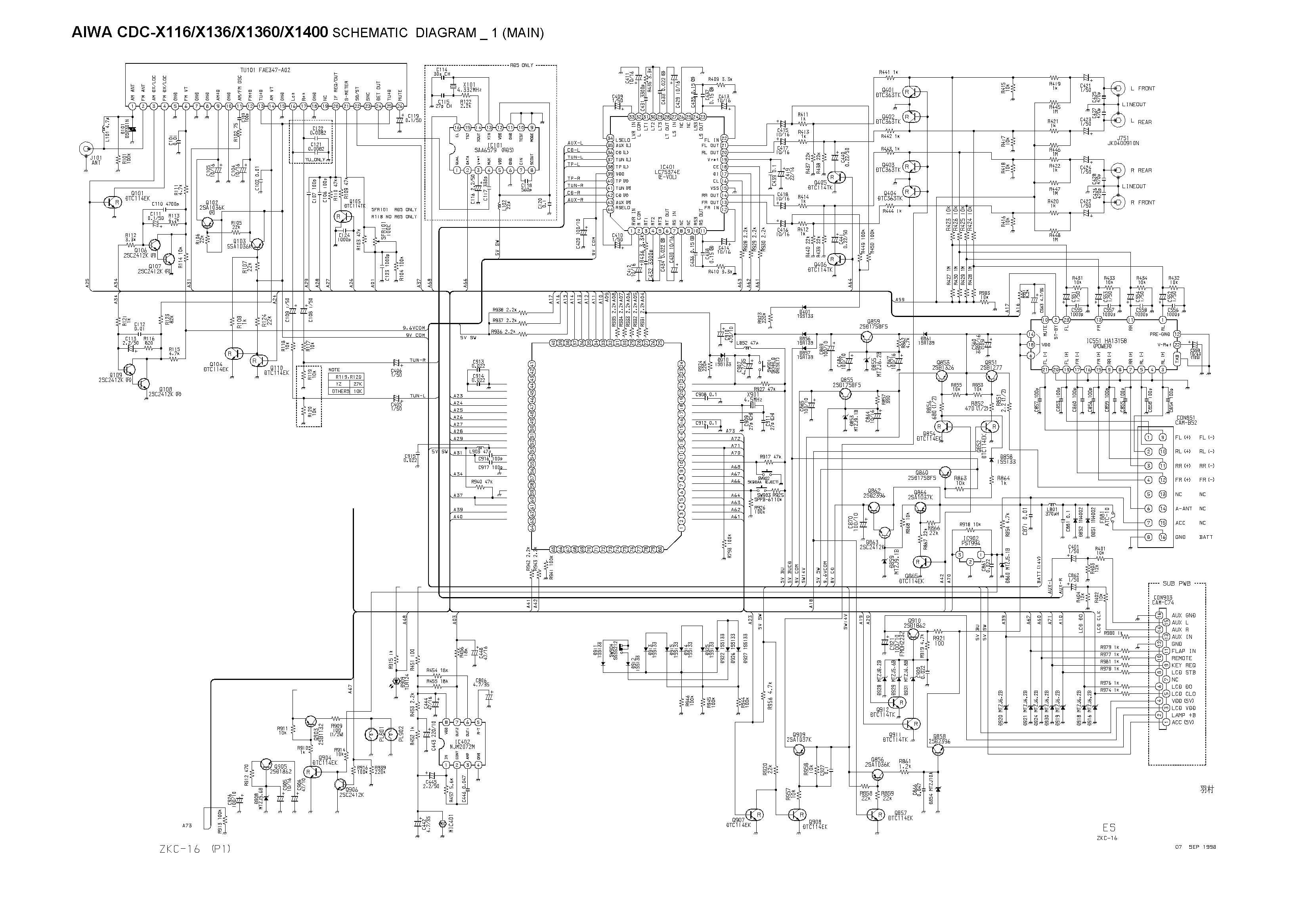 Aiwa Cdc X Schematic Diagram Main Front In