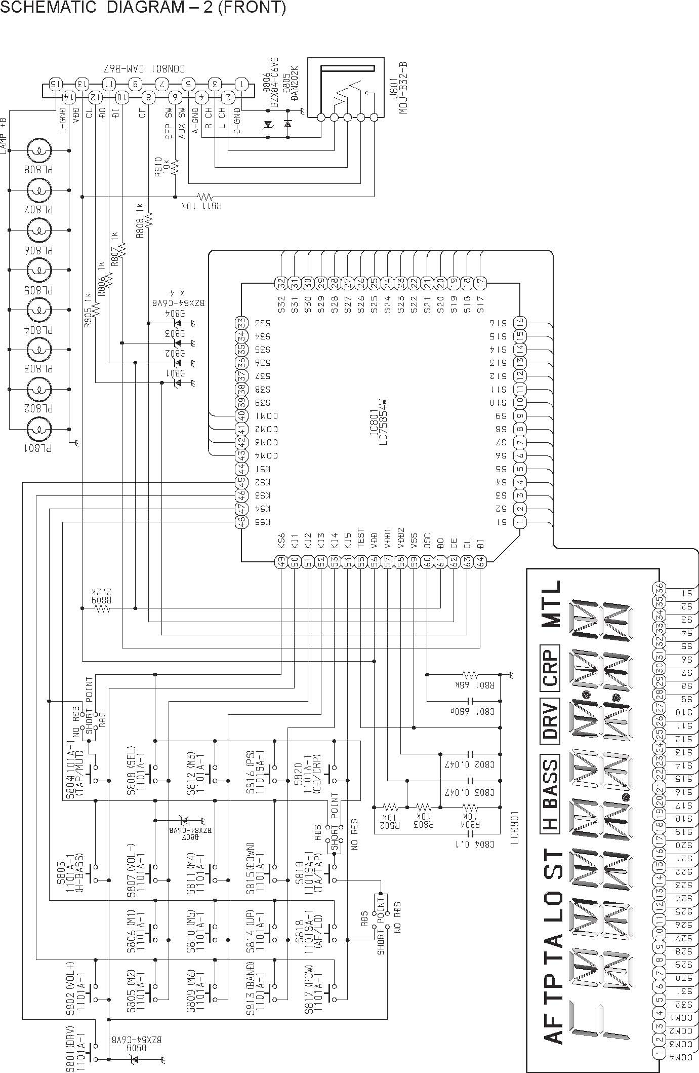 Aiwa Ct R 428 M Schematic Diagram Main Front In
