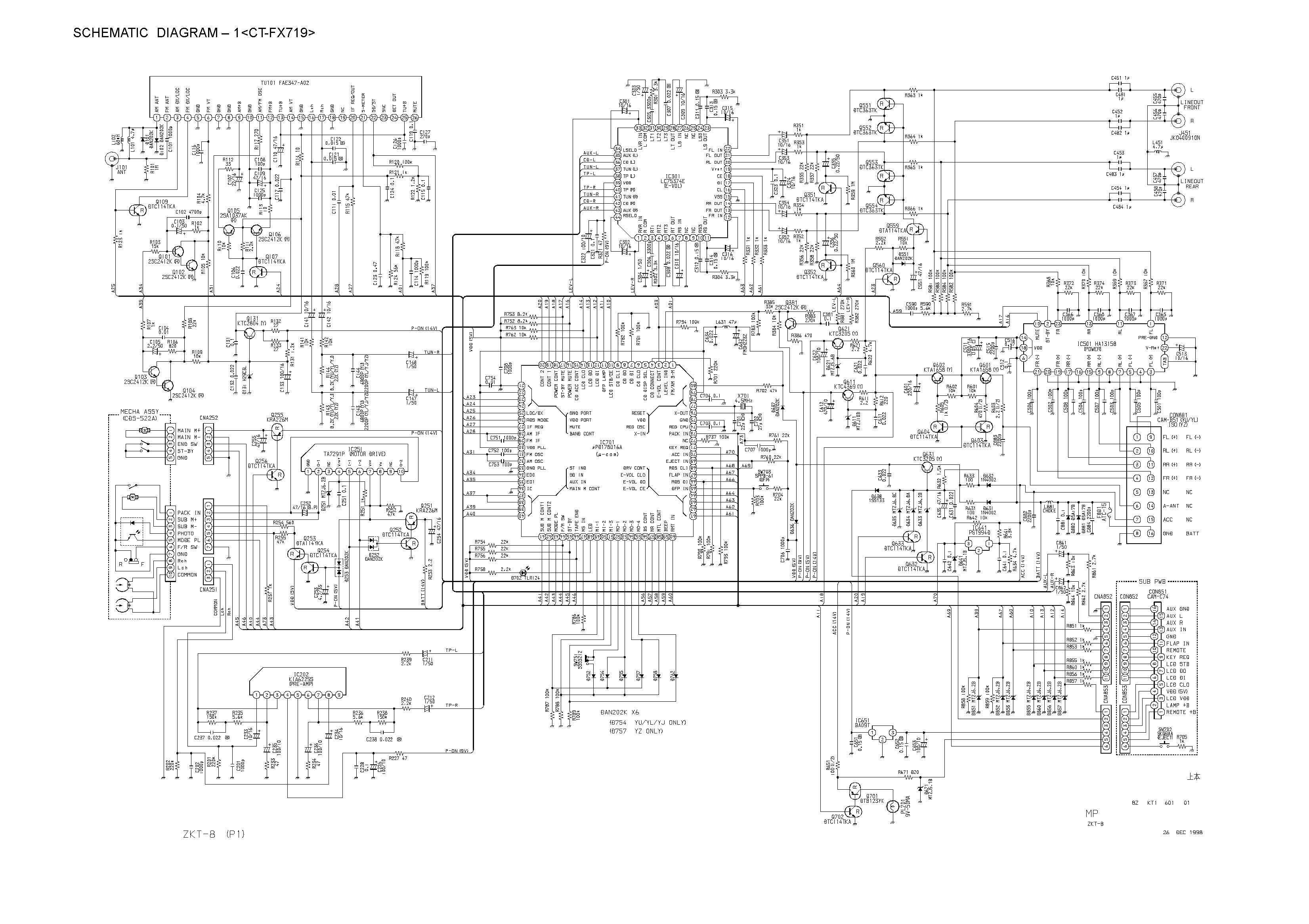 Aiwa Ct Fx719 Schematic Diagram Main Front In Format E Servicemanuals