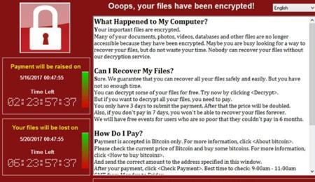pantalla de ransomware wannacry