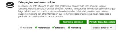 consentimiento de cookies incorreto