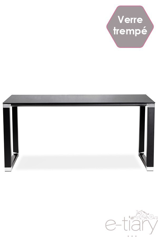 Bureau Design Milay Verre Trempe Noir Structure Metallique