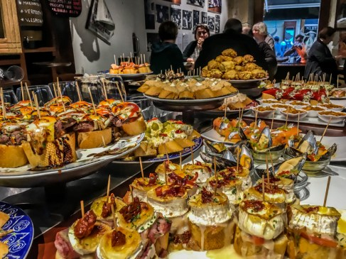 You can find everything from a dry bocadillo con jambon to a mini haute cuisine experiment