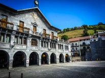 The town hall and square of Leitza - with pelota wall and all...