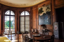 The dining room was built with 1730' Parisian style sculpted woodwork bought at the demolition of the castle of Vitry