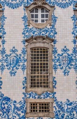 Azulejos, the famous blue glazed tile, adorn the every church in Porto
