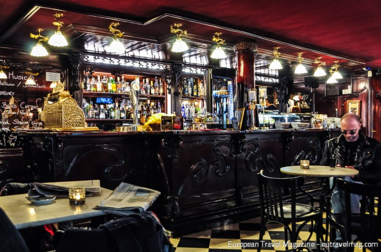 The café is decorated with original Art Nouveau elements but from a different location