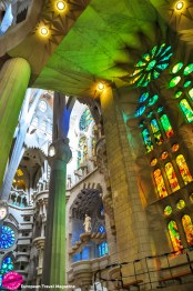 The northern facade lets in little light and the glass mosaics here are in cooler colours