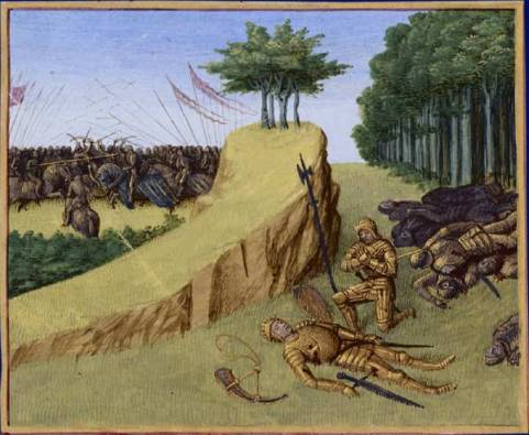Battles of Roncevaux. Death of Roland from Grandes Chroniques de France, illustrated by Jean Fouquet, Tours between 1455-1460 (Wikimedia Commons)