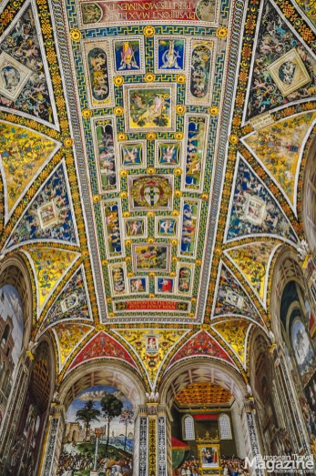 The frescoes were painted between 1502 and 1507 by Bernardino di Betto, called Pinturicchio, probably based on designs by Raphael