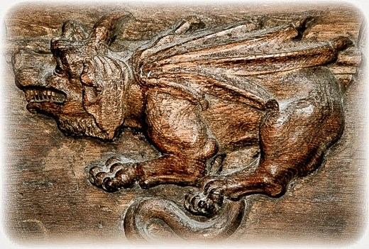 Horned dragon. Magdeburg Cathedral, Germany. Courtesy misericords.co.uk.