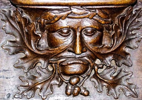 The Green Man, an important element of pre-Christian mythology throughout Europe, appears fairly often as a misericord carving. La Trinité, Vendôme, France. Courtesy Elaine C. Block collection