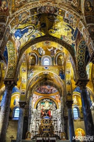 The church of Santa Maria dell'Ammiraglio is a clash between Byzantine mosaics and Baroque frescoes