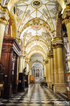 Side aisle of the cathedral wonderfully illuminated