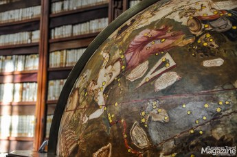 The terrestrial and celestial globes date back to 1716 and are typical of a renaissance library