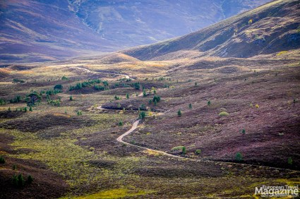 The road up to Meall a' Bhuachaille offers stunning vistas