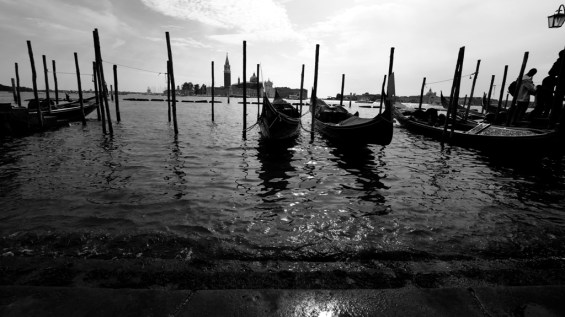 Gondolas parked at the Grand Canal waters