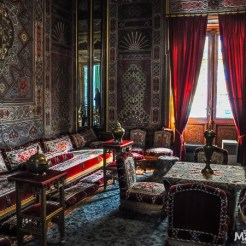 The Turkish Parlor is covered in hand-made textiles and used as a smoking room for the gentlemen