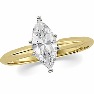 Solid 14k Gold Marquis Cut Russian CZ Solitaire Engagement