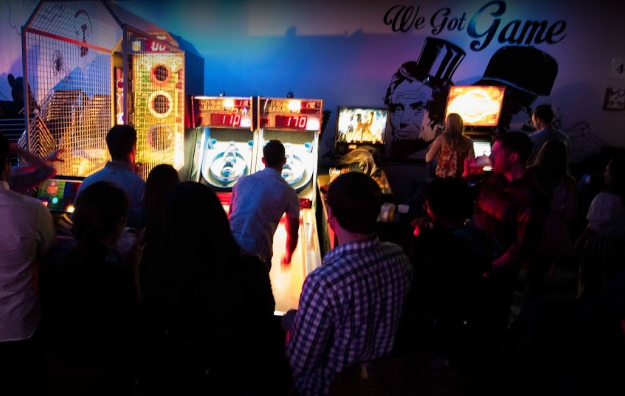 League skeeball games and other coin operated amusements