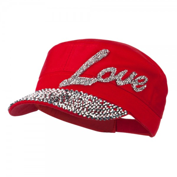 Love Embellished Military Cap - Red