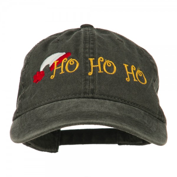 Christmas Hat Ho Ho Ho Embroidered Washed Dyed Cap - Black