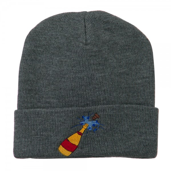 New Year Champagne Bottle Embroidered Beanie