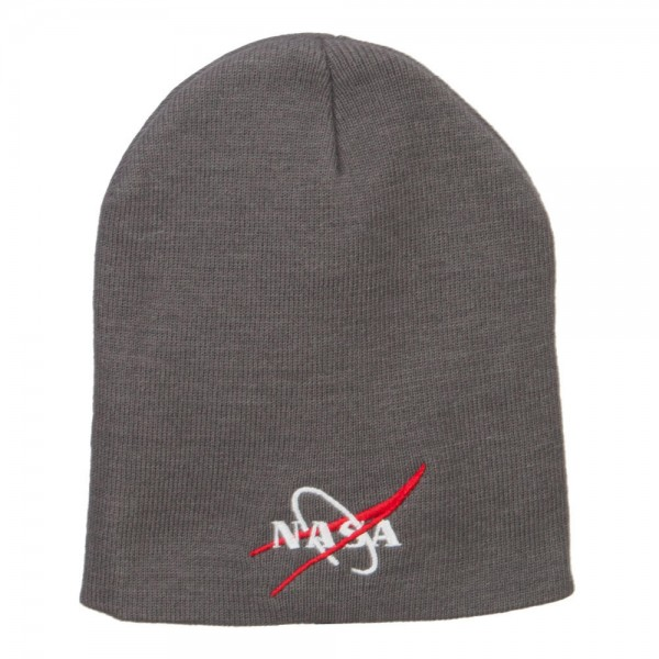 6480173fad3a71 NASA Logo Embroidered Short Beanie - Grey NASA Insignia Embroidered Long ...