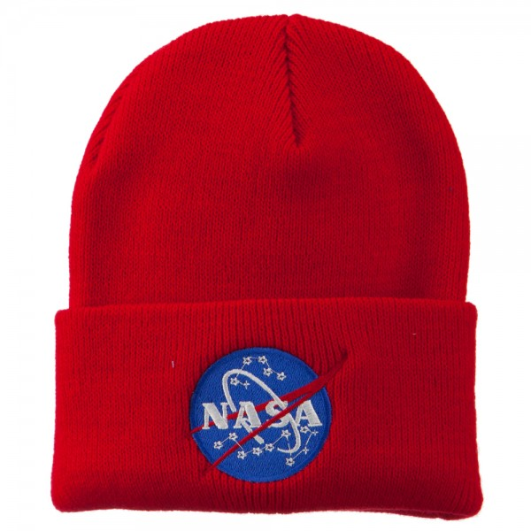 NASA Insignia Embroidered Long Beanie - Red