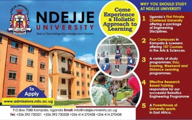 Ndejje University, NDU Admission Requirements: 2019/2020