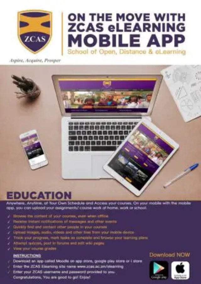ZCAS University, ZCAS Student Portal: zcas.ac.zm/elearning