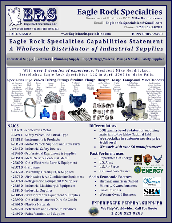 Eagle Rock Specialties Capability Statement