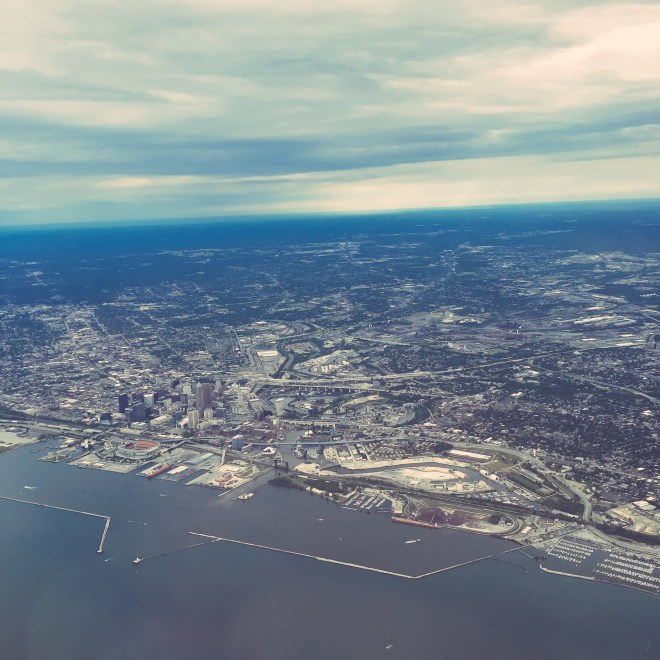 Beautiful view of Cleveland as I left, heading for Sweden.