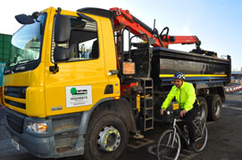 New cycle safety system trialled on lorry in Ealing