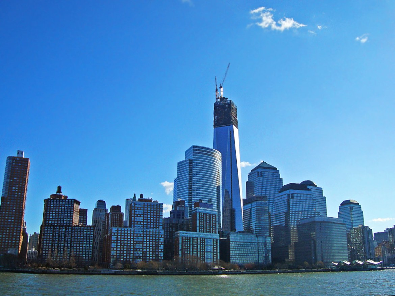 New York dalla barca-grattacieli New York-Grande Mela-Stati Uniti-New York-America-USA