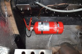 Plumbed-in fire extinguisher safety system