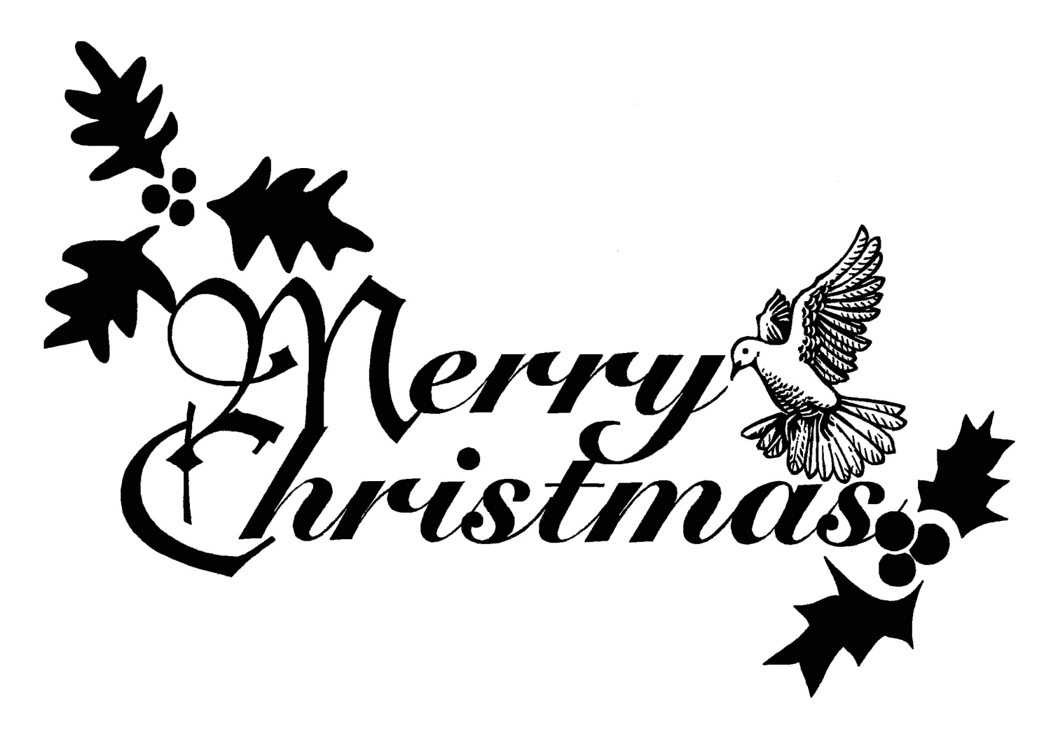 Merry Christmas Clip Art Black And Whitefree Christmas