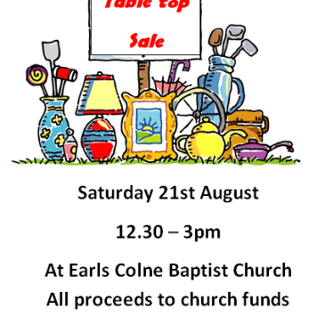 Table top sale with refreshments
