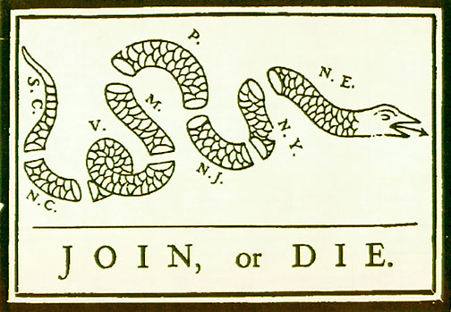 Join or Die, B Franlin's 1754 cartoon on the disunited colonies