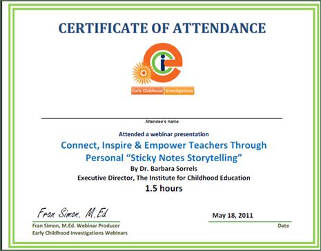 Sample Certificate Early Childhood Webinars
