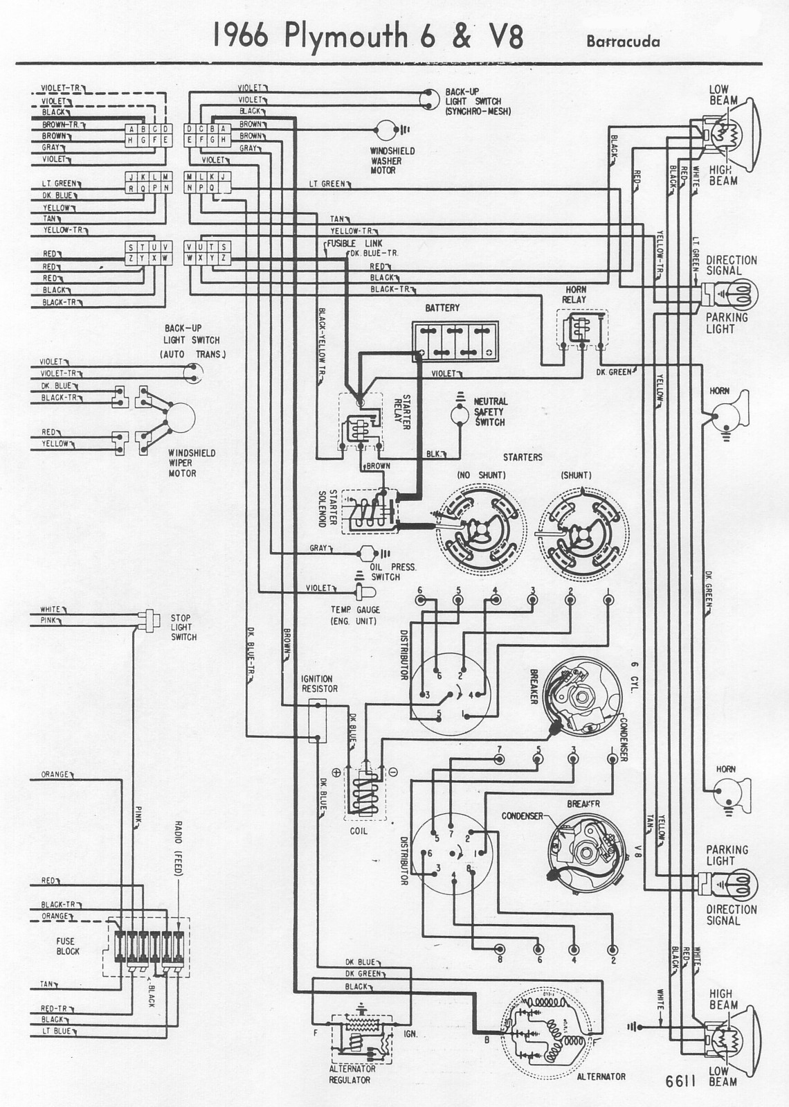 Plymouth Barracuda Wiring Diagram