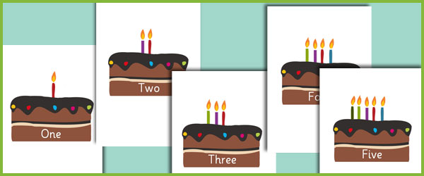 Early Learning Resources Editable Birthday Cake Numberline