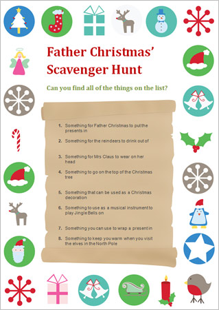 Father Christmas Scavenger Hunt Free Early Years
