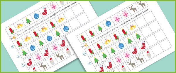Complete The Pattern Worksheets Christmas Free Early