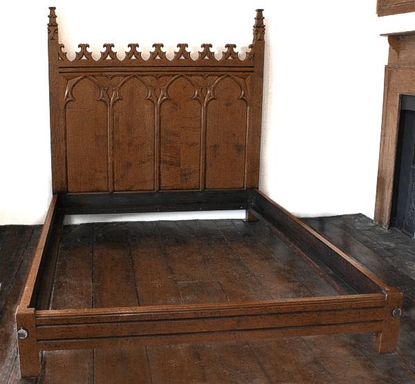 Gothic Hand Carved Oak Bed Handmade Bespoke Oak Bedroom