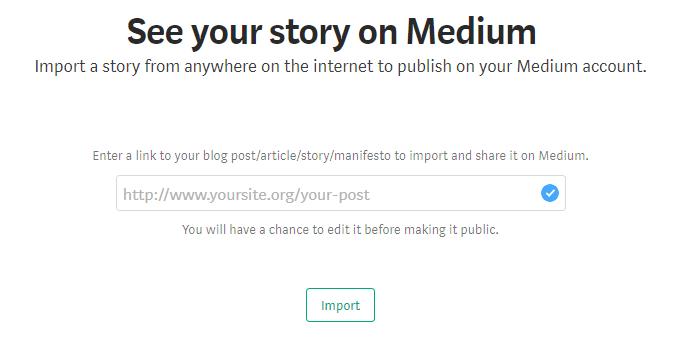 Import your post to Medium