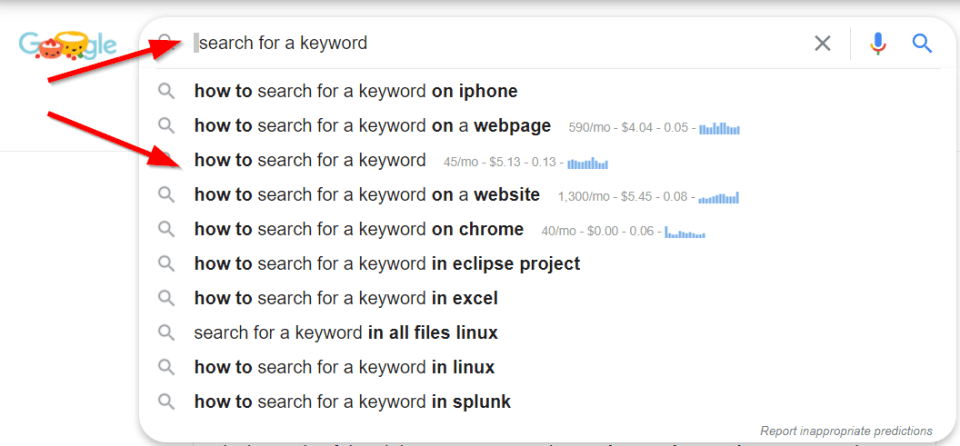 Google Suggestion with KeywordAnywhere